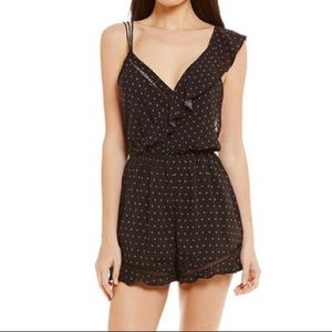 Free People intimately Black Romper with Ruffle